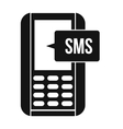 Mobile phone with sms message symbol vector image vector image
