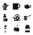 mug with tea icons set simple style vector image vector image