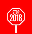 new year red octagonal road sign design vector image vector image