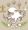 Octopus poster with shell anchor and seahorse vector image vector image