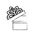 open gift box ribbon bow party sketch vector image vector image