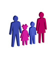 parent with children family symbol flat isometric vector image