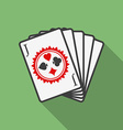 Playing cards icon Modern Flat style with a long vector image vector image