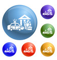 police bribery case icons set vector image