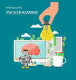 professional programmer flat style design vector image vector image