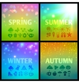 Set of colorful seasons backgound with icons vector image