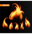 Set of realistic fire vector image vector image