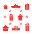 set of red gift boxes and snowflake vector image vector image