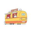 sketch street coffe van in vintage style vector image