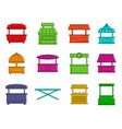 street shop icon set color outline style vector image vector image