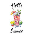 summer cocktail hand drawn vector image