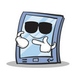 super cool tablet character cartoon style vector image vector image