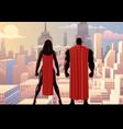 superhero couple watch day vector image vector image