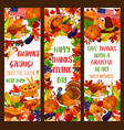 thanksgiving banner set for autumn holiday design vector image vector image