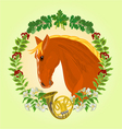 The head red Horse leaves and french horn vector image vector image