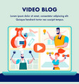 video blog internet channels flat banner template vector image vector image