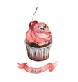 Watercolor decorative cupcake with ribbon vector image vector image