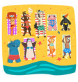 wild animals sunbathing on the beach cute animals vector image vector image