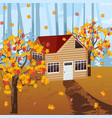 wood house autumn background vector image