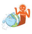 world corona virus attack concept cartoon vector image