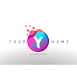 y dots letter logo with bubbles a letter design vector image vector image