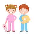 children wearing pajamas vector image