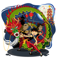 Chinese New Year Dragon Dance vector image
