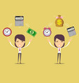accountant at worktime is money concept vector image vector image
