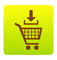 add to shopping cart sign brown icon at vector image vector image