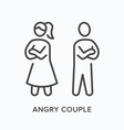 angry couple flat line icon outline vector image