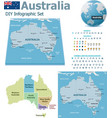 Australia maps with markers vector image