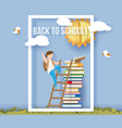back to school card with boy books and sun vector image vector image