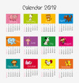 calendar template with different animals vector image