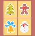 christmas symbols set icons vector image vector image