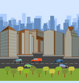 city street with a roadway and skyscrapers vector image