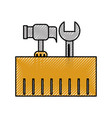 construction box with hammer and wrench tools vector image