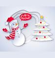 cut paper snowman vector image vector image
