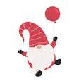 cute christmas gnome with balloon vector image vector image