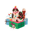 cute funny cat tangled in christmas light garland vector image
