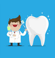 dentist showing how to brush the teeth vector image vector image