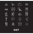 diet editable line icons set on black vector image vector image