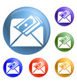 envelope bribery money icons set vector image vector image