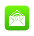 envelope with email sign icon digital green vector image vector image