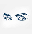 eyes line one art isolated vector image