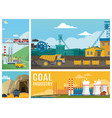 flat coal industry colorful composition vector image