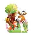 forest animals friends in wild on big tree vector image vector image