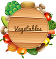 Fresh vegetables with wooden sign vector image