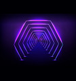 futuristic tunnel glowing neon illumination vector image