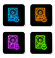 glowing neon hard disk drive with clockwise sign vector image