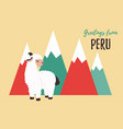 greeting card from peru with cute lama vector image vector image